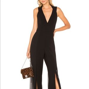 V Neck Jumpsuit in Black Halston Heritage